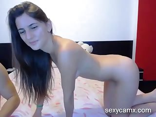 hot brunette gets her ass drilled and receive massive facial live at sexycamx.com