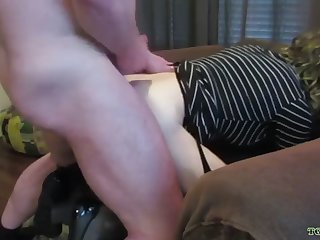 crossdresser lauren gets plowed hard in her fun chair!