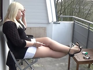mariella smoking in pantyhose and heels