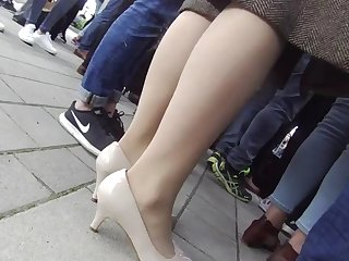 lady in pantyhose and heels candid